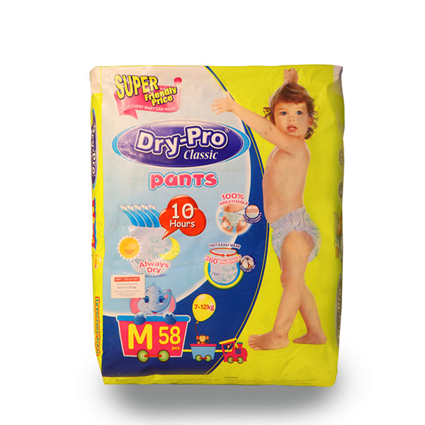 Dry-Pro Classic baby Pants Disposable Diapers 7-12kg 58